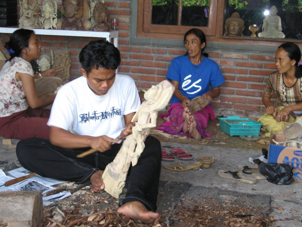 This village in Bali is known for their wood carving art. They pass down their skill through their families.