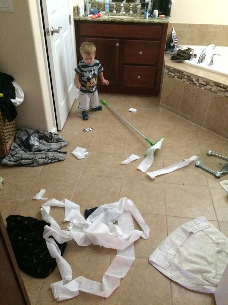 Why do I bother buying toys when there are so many toilet paper rolls to unroll in our house?