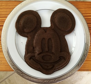 Who doesn't want a waffle/pancake shaped like Mickey for breakfast? We added Coco powder to mix on this try. Yummy!
